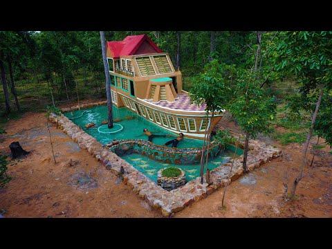 Build boat villa house beautiful & Swimming Pool & Fish pond : (Full Video)