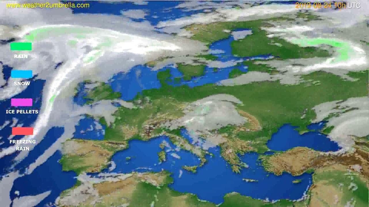 Precipitation forecast Europe // modelrun: 00h UTC 2019-08-22