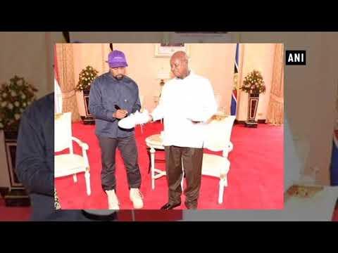 Kanye West meets Uganda President, gifts pair of sneakers