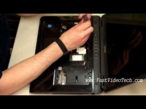 Toshiba - In this video I clean the dust out of a Toshiba Satellite laptop because the exhaust vent was 100% blocked by dust causing the laptop to over heat and shut d...