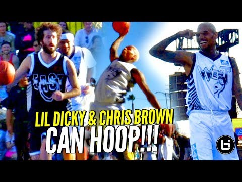 Chris Brown & Lil Dicky CAN HOOP!!! Chris Brown's Got BOUNCE & JELLY Too! Full Highlights! (видео)