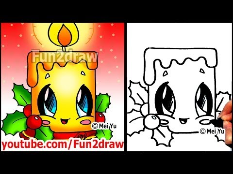 How to Draw Christmas Pictures - Candle + Holly Decoration - Fun2draw Easy Cartoons