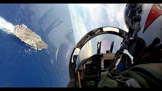 Lądowanie na lotniskowcu z perspektywy pilota