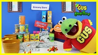 Pretend Play Food Toys Gus Works at Grocery Store! Learn Food Names Cash Register