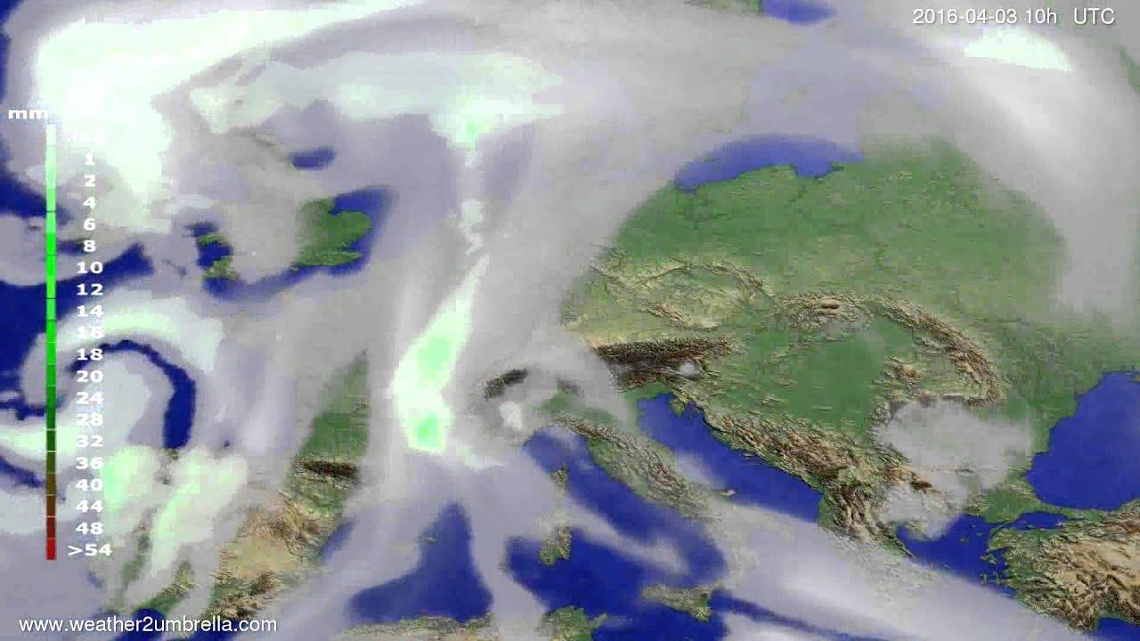 Precipitation forecast Europe 2016-04-01