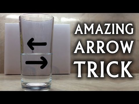 optical illusion - Very easy illusion to do at home trying it yourself. When the arrow is moved to a particular distance behind the glass, it looks like it reversed itself. Whe...