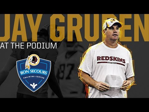 Conference - Redskins Head Coach Jay Gruden talks to the media following practice at the Bon Secours Center in Richmond, VA. on August 1, 2014.