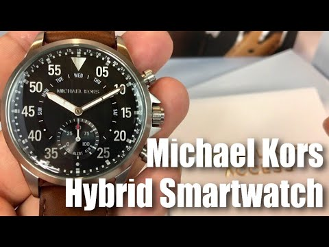 Michael Kors Access Gage Silver-tone & Brown Leather Hybrid Slim Runway Smartwatch MKT4001 by Fossil