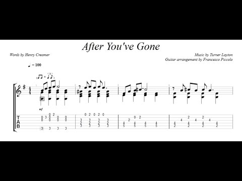 Fingerstyle Guitar - After You've Gone (From Jazz Tunes Vol.2, Nr.7)