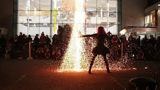 Halloween Fire Show featuring the Charcoal Scepter