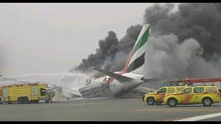 Emirates Airlines Boeing 777 Crash landing Fire Dubai Airport