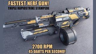 Video FASTEST NERF GUN!!! [TRIPLE RAPIDSTRIKE STAMPEDE w/ ROUGHCUT INTEGRATION] MP3, 3GP, MP4, WEBM, AVI, FLV Oktober 2017