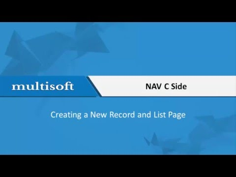 Creating a new record and list page in NAV C Side video