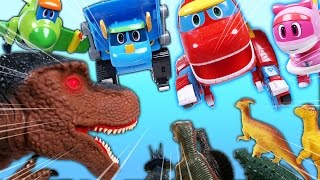 Video 고고다이노 로봇공룡구조대 출동 공룡을 물리치고 뽀로로하우스를 지켜줘! (GoGoDino Transforming Robot Toys VS Dinosaurs Animation) MP3, 3GP, MP4, WEBM, AVI, FLV Maret 2018