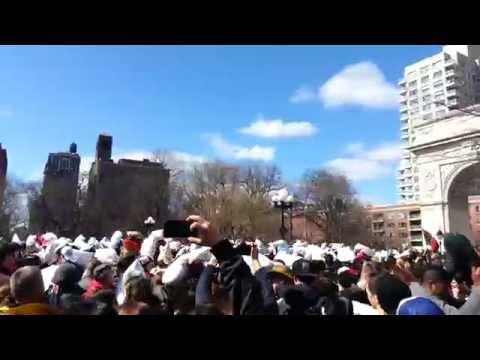 Great Pillow Fight Washington Square Park 2014