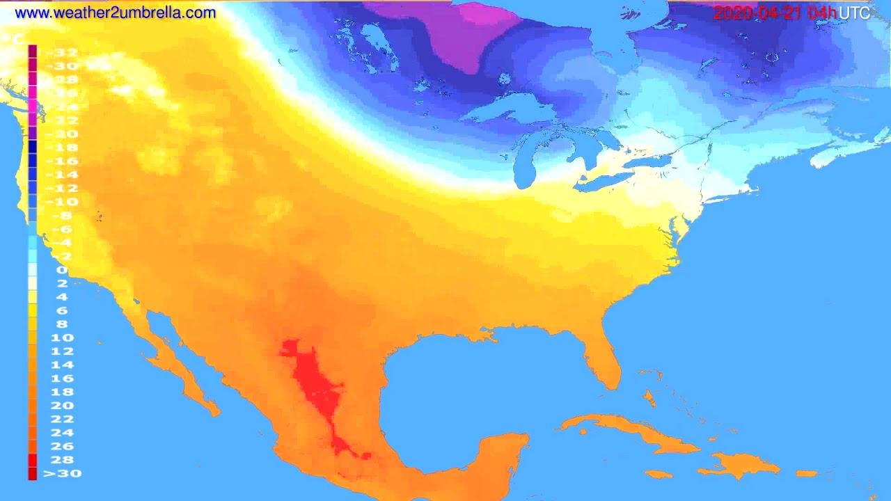 Temperature forecast USA & Canada // modelrun: 12h UTC 2020-04-20