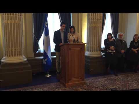 Lecture par Vincent et Alicia Angel-Despins - Déclaration - Événement En marche pour la parité - 11 avril 2016 - Assemblée nationale du Québec