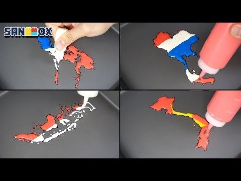 National Flag Map Indonesia Vietnam Thailand Philippines Pancake Art