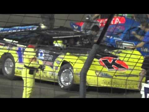 model - Brian Birkhofer beats Scott Bloomquist on the final lap at 2014 Knoxville Late Model Nationals in what may be his last race.