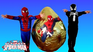 Video GIANT EGG SURPRISE OPENING SPIDERMAN Marvel Superhero Toys Kids Video Spiderman Vs Venom MP3, 3GP, MP4, WEBM, AVI, FLV Juni 2018
