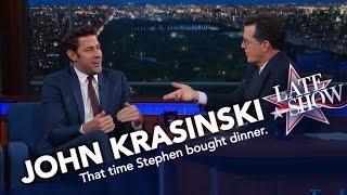Video John Krasinski vs. Stephen Colbert: Who Paid for Dinner? MP3, 3GP, MP4, WEBM, AVI, FLV Agustus 2019