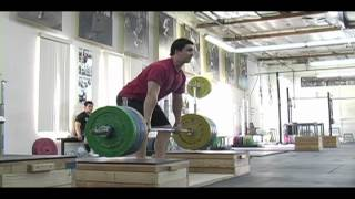Weightlifting training footage of Catalyst weightlifters. Audra power snatch + snatch, Steve block clean pull, Aimee block snatch, Eastman snatch push press + OHS.