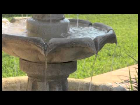 Video for Arcade Sandstone Outdoor Solar LED Floor Fountain