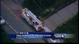 3 women killed, 1 injured in Bethel Park crashSubscribe to WTAE on YouTube now for more: http://bit.ly/1emyOjPGet more Pittsburgh news: http://www.wtae.com/Like us: http://www.facebook.com/wtae4Follow us: http://twitter.com/WTAEGoogle+: http://plus.google.com/+wtae
