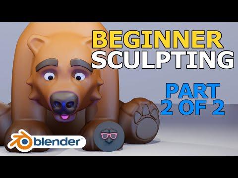 Blender 2.9 Tutorial - Beginner Sculpting - Stylized Bear - Part 2 of 2