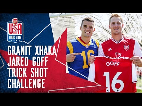 😱 Granit Xhaka V The NFL | Crazy Trick Shots And Long Throws With LA Rams' Jared Goff! 🏈