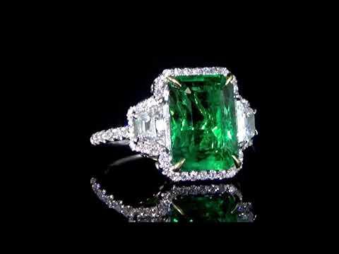 AGL Certified 6.52ct Emerald Cut Emerald and Diamond Ring