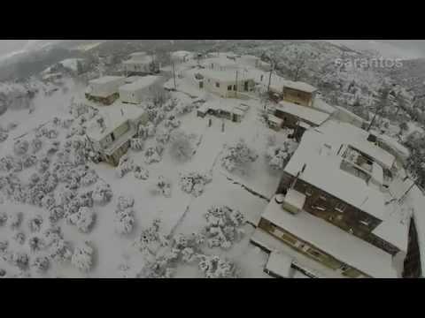 Ο χιονιάς στην Κερά Ηρακλείου από ψηλά (βίντεο)