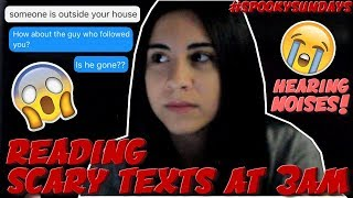 Video REACTING TO SCARY TEXT MESSAGES AT 3AM (CHALLENGE) #SpookySundays | Just Sharon MP3, 3GP, MP4, WEBM, AVI, FLV Mei 2018