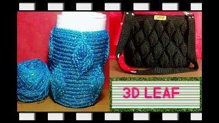 Crochet || jar's cover 3D leaf