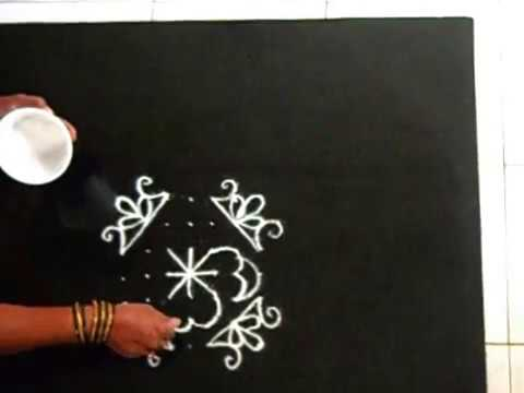 Simple kolam with dots ( 7 by 7 dots)