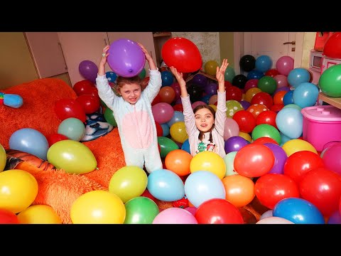 Balloon room | Children Play and Break Balloons | Kids Video