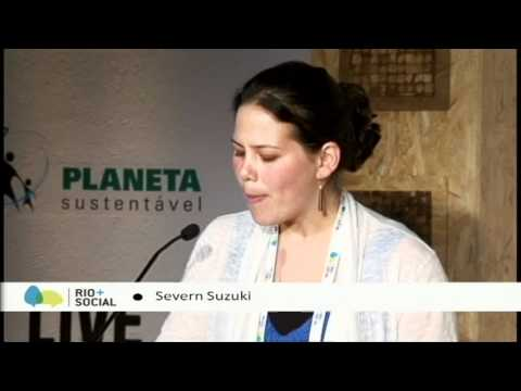Rio Social - http://www.unfoundation.org Severn Cullis-Suzuki, an environmental activist, spoke to the world at Rio+Social, delivering a crowdsourced vision for a sustain...