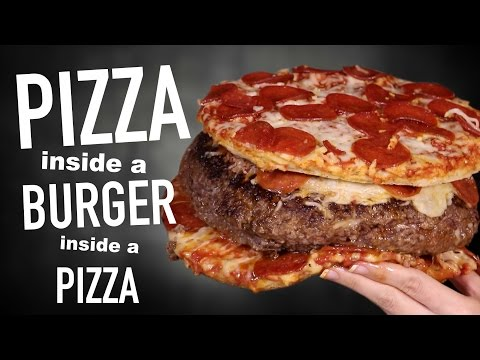 A Pizza Stuffed Inside a Burger That is Inside a