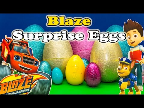 BLAZE AND THE MONSTER MACHINES Nickelodeon Blaze & Paw Patrol Suprise Eggs Toys Video