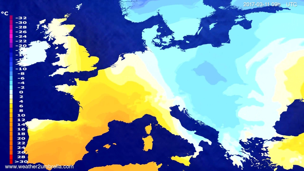 Temperature forecast Europe 2017-03-07