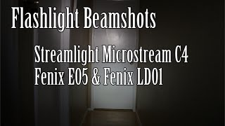 Comparing a few common EDC flashlight beamshots. I show the Streamlight Microstream C4, Fenix E05, and Fenix LD01.Check out my review of the LD01 here:https://www.youtube.com/watch?v=uUGvanNMIOMFilmed with a Canon EOS M 18-55, Mic Zoom H1 RecorderI'd appreciate if you could like our FB page here: http://www.facebook.com/beactivelifeThanks!