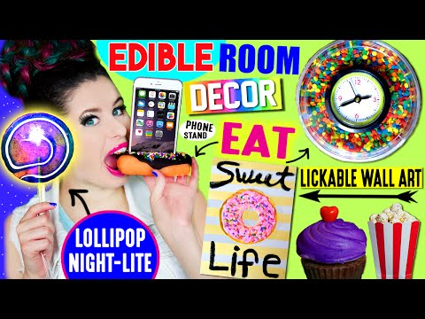 DIY Edible Room Decor: Decorate With FOOD | Edible Phone Stand, Clock, Lollipop Night Light! (видео)