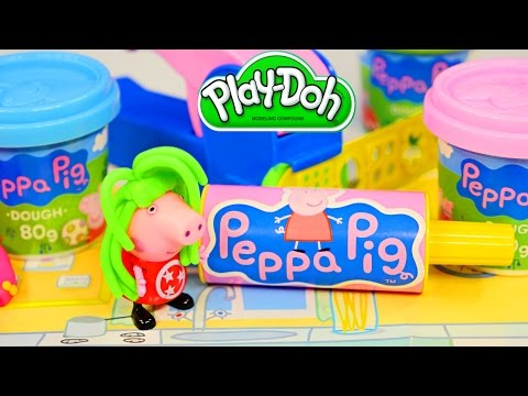toys - Peppa Pig Mega Dough Set by Canal Toys includes 4 Peppapig Play Doh Packs, Peppa Kids Play Mat, Playdough Roller, Extruder + 2 Slides, 12 Decorative Play-Doh Moulds, 2 Cutting Moulds, 2 Peppa...