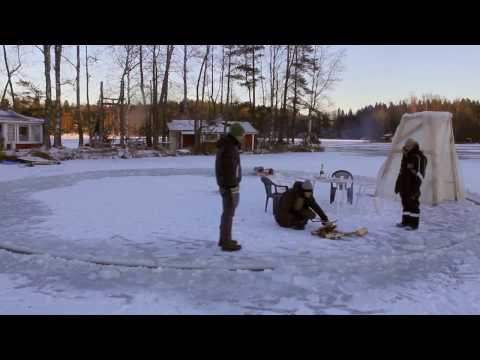 Real Ice Carousel Made On A Frozen Lake Using A Chainsaw In