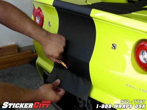 3M Carbon Fiber Vinyl Stripe Install on Lotus Elise Part 2