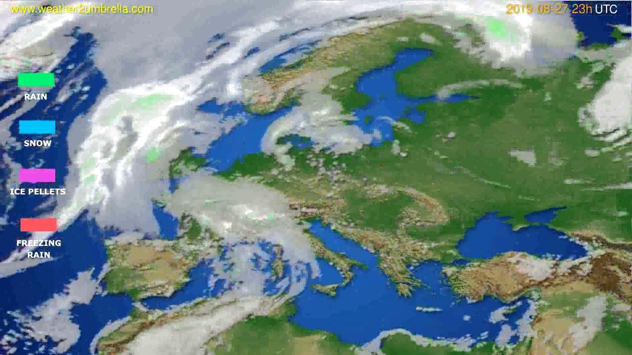 Precipitation forecast Europe // modelrun: 12h UTC 2019-08-24