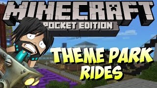 Minecraft PE (Pocket Edition) : Riding Roller Coasters + Water Slides!