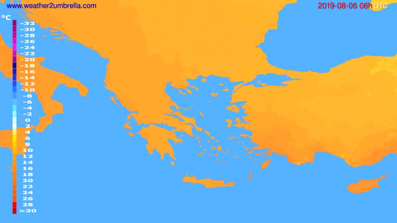 Temperature forecast Greece // modelrun: 00h UTC 2019-08-04