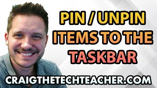 This video is brought to you by: http://www.craigthetechteacher.com - Pinning (and Unpinning) items to the taskbar is an essential skill every Windows 10 user will need to know. This is extremely easy to do and allows you to quickly access any program right from the taskbar rather than go hunting for it.I am notorious for having far too many items on my taskbar. Sometimes my taskbar is completely filled with items and I use it as a launcher. This launcher looks very similar to the Mac when it is completely filled.The taskbar is a great part of the Windows 10 operating system and it offers a great amount of flexibility. You can even rearrange the icons using your own discretion.