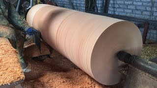 Video Dangerous Woodturning | Giant Wood Lathes - One Big Tree Create A Wood Vase MP3, 3GP, MP4, WEBM, AVI, FLV September 2018
